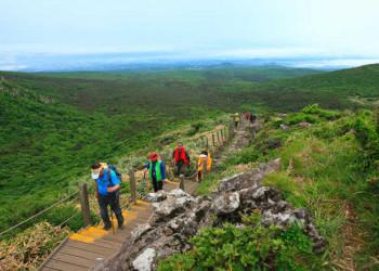 Wanderer am Mount Hallasan auf Jeju