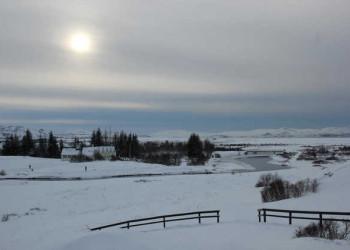Schneebedeckte Landschalft im Thingvellir