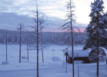 Blick vom Hotel Jokkmokk auf den See Talvatis