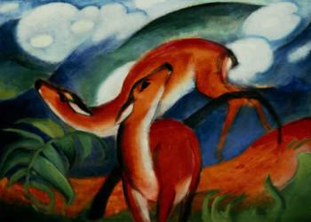 Gemälde von Franz Marc Rote Rehe II