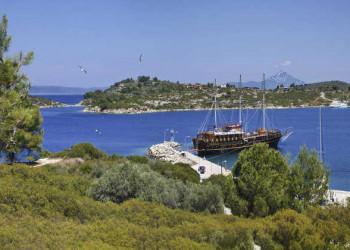 Bucht von Ormos Panagias und Berg Athos
