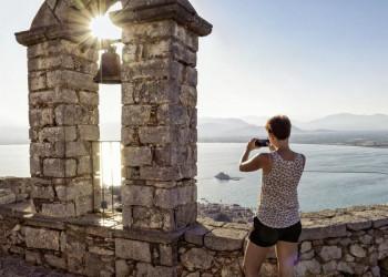 Ausblick von der Festung in Nauplia auf das Meer