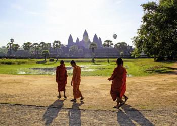 Buddhistische Mönche in Angkor Wat in Kambodscha