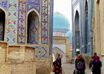 Gassenszene Samarkand Usbekistan
