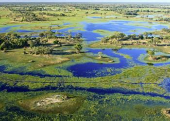 Luftaufnahme des Okavango Deltas