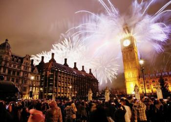 Silvesterfeuerwerk am Big Ben in London