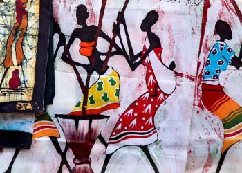 Stoffe aus Namibia mit afrikanischen Motiven
