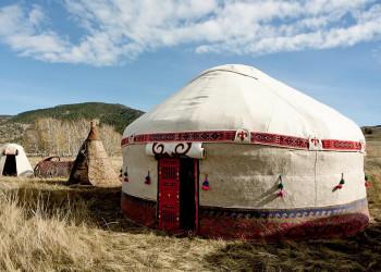Jurte von Nomaden in der Mongolei