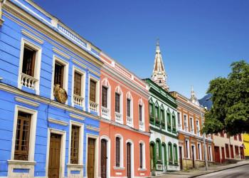Die koloniale farbenfrohe Altstadt von Bogotá in Kolumbien