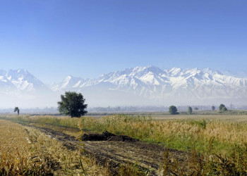 Die weite Landschaft Kirgisistans vor dem Tianshan-Gebirge