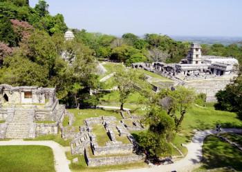 Die Mayastätte Palenque, spektakulär gelegen am Rande des Regenwaldes