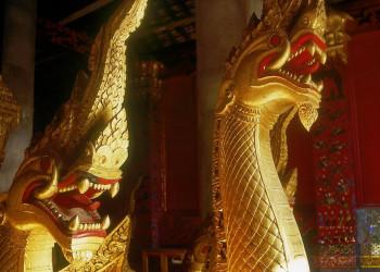 Goldene Drachen im Tempel Wat Xieng Thong in Luang Prabang