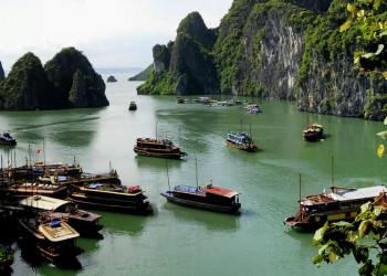 Boote in der Halongbucht in Vietnam