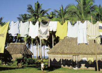 Kleines Dorf auf Fiji, Südsee
