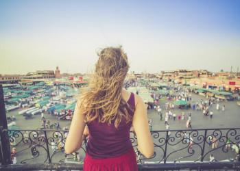Blick auf den Platz der Gaukler in Marrakesch