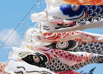 Traditionelle Windsäcke - Koi-Nobori - flattern in Japan in der Brise
