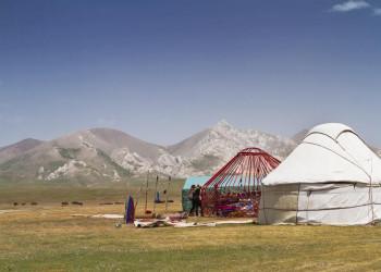 Nachtlager im Gebirge - unser Jurtencamp