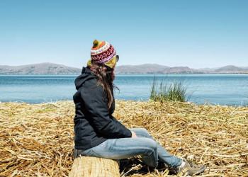 Das Panorama am Titicacasee genießen