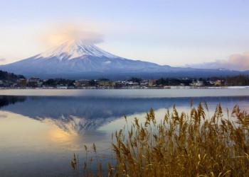 Blick auf den Fuji-san über den Ashi-See