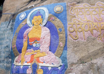 Über allem in Tibet wacht Buddha