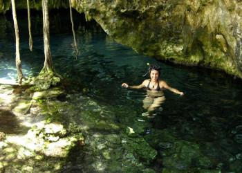 Badefreuden in einer Cenote in Mexiko