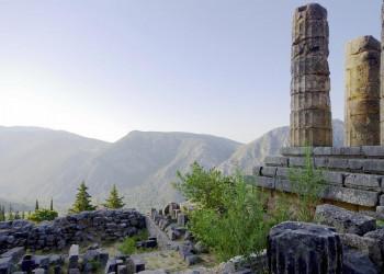 Die Ausgrabungen von Delphi - mit einem tollen Blick auf die Bergwelt