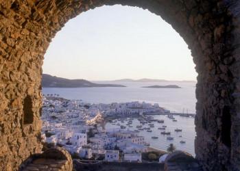 Blick auf den alten Hafen von Mykonos-Stadt
