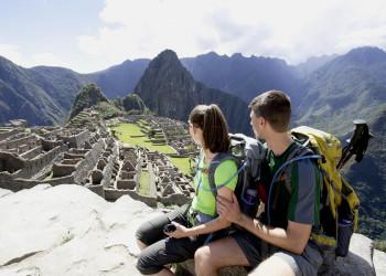 Blick auf die Inkastadt Machu Picchu