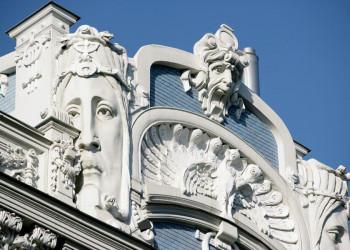Jugendstilfassade in Riga, Lettland