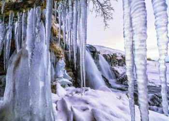 Eiszapfen am Wasserfall Gullfoss